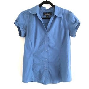 in vain Blue Button Down Shirt with Puff Sleeves